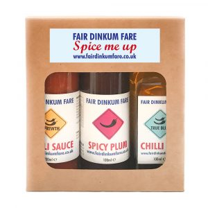 Mix 'N' Match your Fair Dinkum Fare gift set. Know someone who loves a bit of spice? This 3 pack gives you the opportunity to pick your favourite products and makes a lovely gift set for the chilli lover in your life.